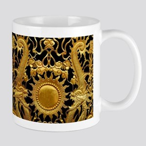 gold black antique pattern Mugs