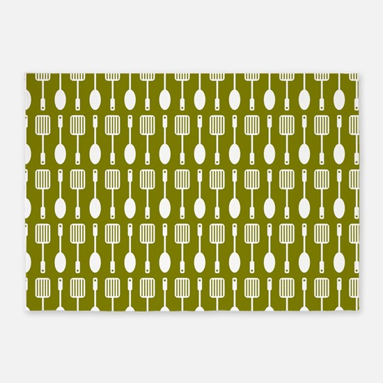 Olive and White Kitchen Utensils Pa 5'x7'Area Rug