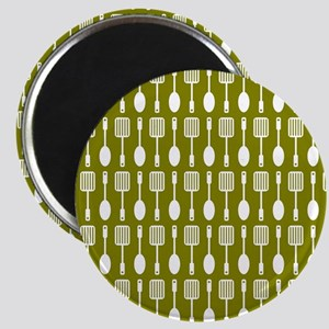 Olive and White Kitchen Utensils Pattern Ba Magnet
