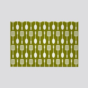 Olive and White Kitchen Utensils Rectangle Magnet