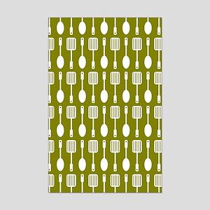 Olive and White Kitchen Utensils Mini Poster Print