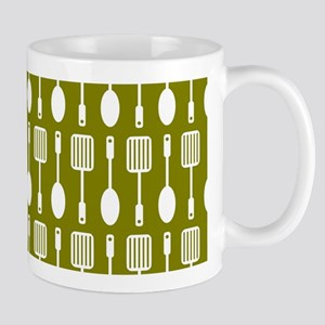 Olive and White Kitchen Utensils Patter Mug