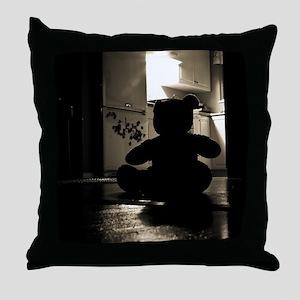 scary black teddy bear Throw Pillow