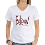 Believe! (Red) Women's V-Neck T-Shirt