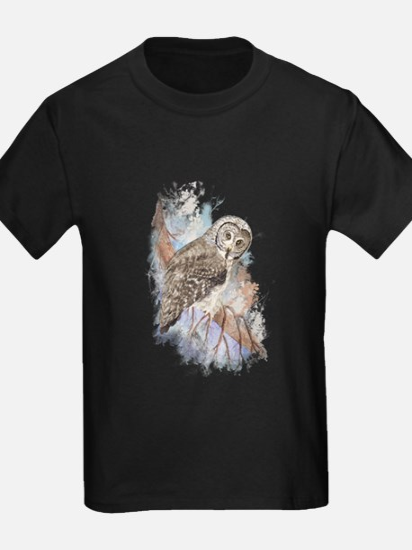 Watercolor Great Gray Owl Bird Nature Art T-Shirt