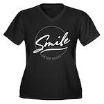 Smile Contra Women's V-Neck Dark Plus Size T-S