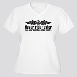 Never Ride Faster Women's Plus Size V-Neck T-Shirt