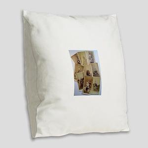 antique vintage photos Burlap Throw Pillow