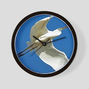 blue white egret bird Wall Clock