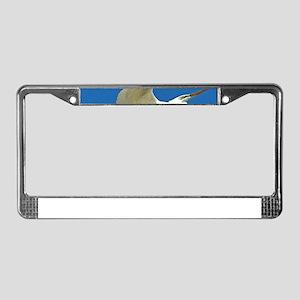 blue white egret bird License Plate Frame