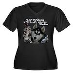 MCK Siberians Women's Plus Size V-Neck Dark T-Shir