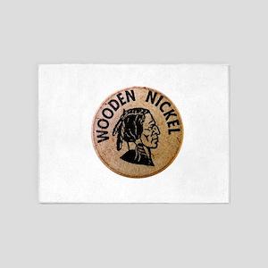 vintage wooden nickel 5'x7'Area Rug