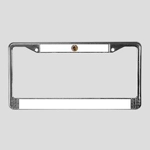 vintage wooden nickel License Plate Frame