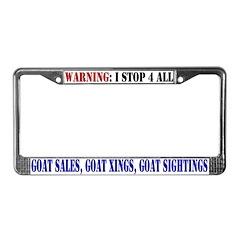 Goat Warning License Plate Frame