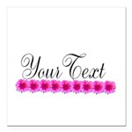 Personalizable Pink Flowers Square Car Magnet 3