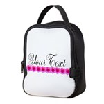 Personalizable Pink Flowers Neoprene Lunch Bag