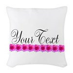 Personalizable Pink Flowers Woven Throw Pillow