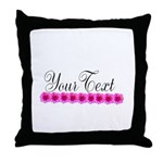 Personalizable Pink Flowers Throw Pillow