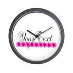 Personalizable Pink Flowers Wall Clock