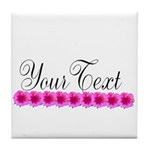 Personalizable Pink Flowers Tile Coaster