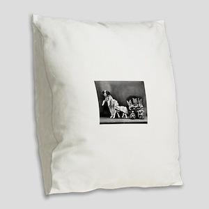 funny vintage dog cats photo Burlap Throw Pillow