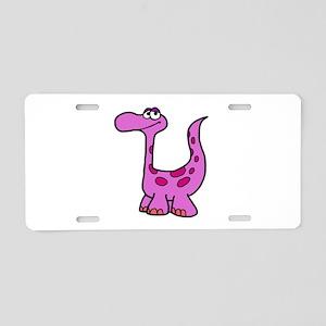 Purple Dinosaur Aluminum License Plate