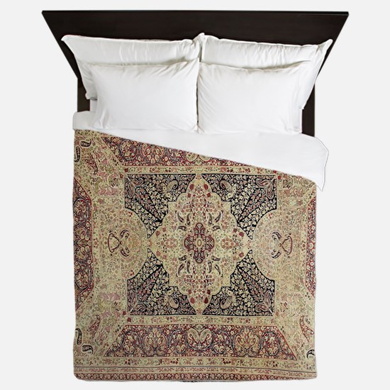 Antique Kerman Red/Blue Pattern Queen Duvet