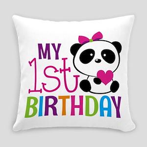 Panda 1st Birthday Everyday Pillow