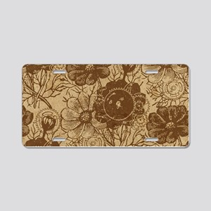 Flowers And Gears Brown Aluminum License Plate