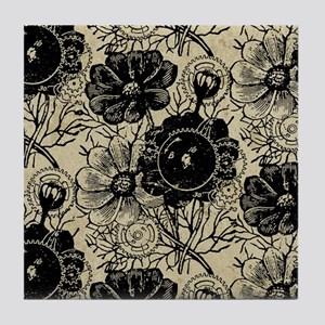 Flowers And Gears Black Tile Coaster