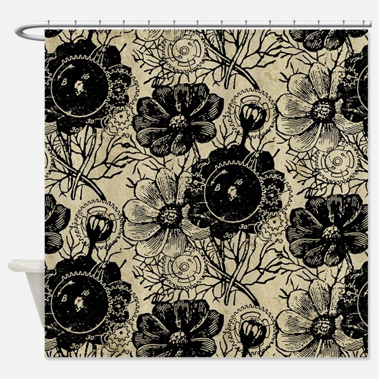 Flowers And Gears Black Shower Curtain