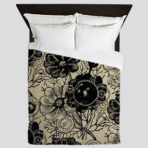 Flowers And Gears Black Queen Duvet