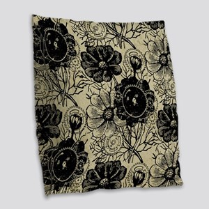 Flowers And Gears Black Burlap Throw Pillow