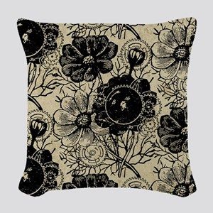 Flowers And Gears Black Woven Throw Pillow