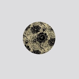 Flowers And Gears Black Mini Button