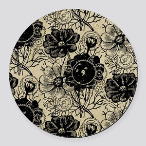 Flowers And Gears Black Round Car Magnet