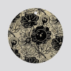 Flowers And Gears Black Ornament (Round)