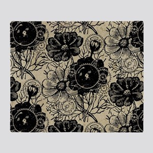 Flowers And Gears Black Throw Blanket