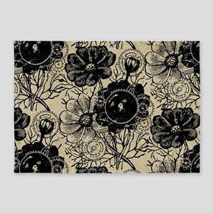 Flowers And Gears Black 5'x7'Area Rug
