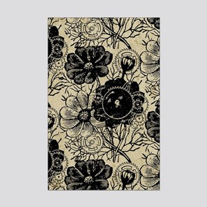 Flowers And Gears Black Mini Poster Print