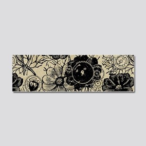 Flowers And Gears Black Car Magnet 10 x 3