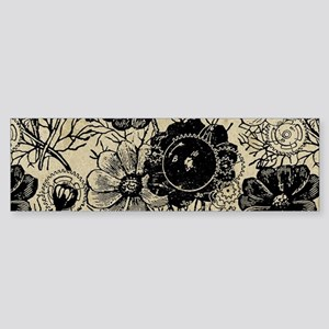 Flowers And Gears Black Sticker (Bumper)