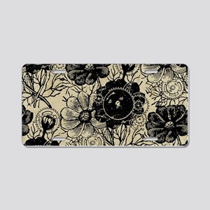 Flowers And Gears Black Aluminum License Plate