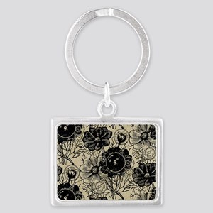 Flowers And Gears Black Landscape Keychain