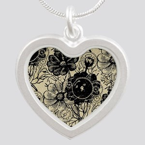 Flowers And Gears Black Silver Heart Necklace