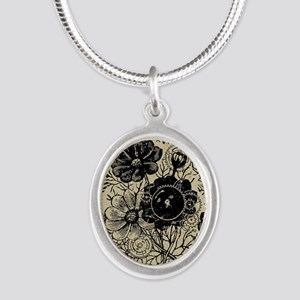 Flowers And Gears Black Silver Oval Necklace