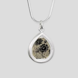 Flowers And Gears Black Silver Teardrop Necklace