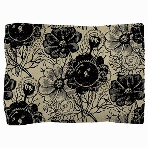 Flowers And Gears Black Pillow Sham