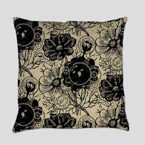 Flowers And Gears Black Everyday Pillow