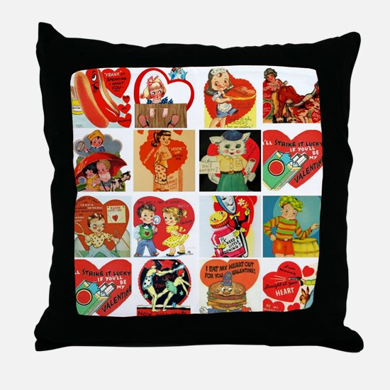 vintage valentines day cards feb Throw Pillow